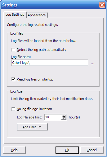 Log Viewer settings